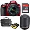 Nikon D3200 24.2 MP Digital SLR Camera (Red) bundle with 18-55mm AF-S DX Nikkor lens, 55-200mm AF-S DX Nikkor Lens, D-SLR Starter Pack and SanDisk Ultra 16 GB Card