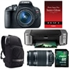 Canon EOS Rebel T5i 18.0 MP Digital SLR Camera bundle with EF-S 18-55mm IS STM lens, EF-S 55-250mm f/4-5.6 IS Telephoto Lens, Pixma PRO-100 InkJet Printer, Semi-Gloss Paper, DSLR Sling and Kingston 16GB Memory Card