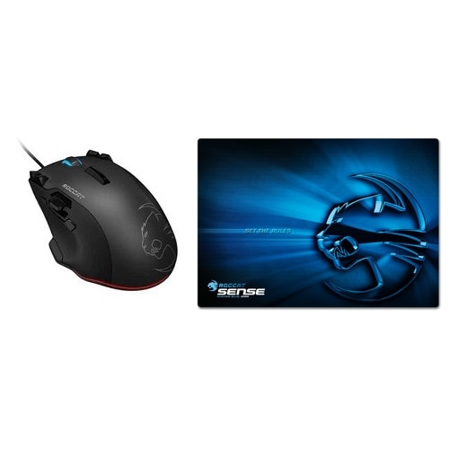 Roccat Bundle: Tyon All Action Multi-Button Gaming Mouse - Black and Sense High Precision Gaming Mousepad - Chrome Blue - ROCCAT-TYON+MP