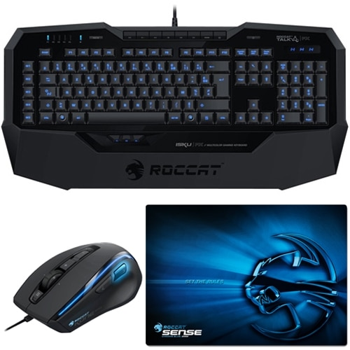 Roccat PC Gaming Bundle - Includes Isku FX Multicolor Gaming Keyboard, Kone XTD Gaming Mouse, and Sense-Chrome High Precision Gaming Mousepad - ROCCAT-DELL-KIT2