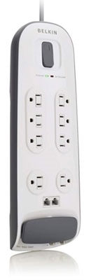 Belkin 8-Outlet Surge Protector with 6-Foot Power Cord with Telephone Protection Product Shot