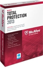 McAfee Total Protection 2013 - 1 User Product Shot