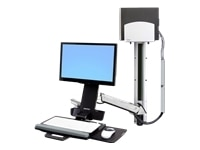 Ergotron StyleView Sit Stand Combo System with Medium Silver CPU Holder