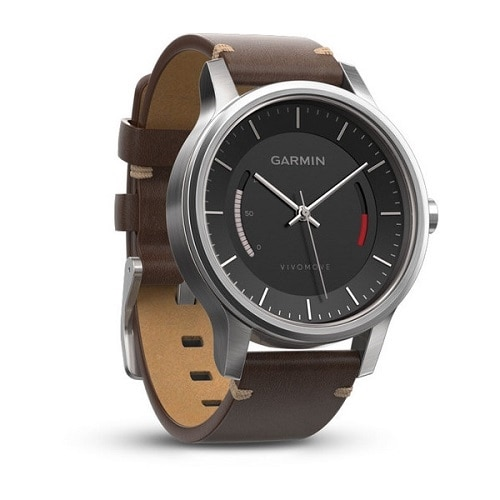Garmin vívomove Premium stainless steel activity tracker with brown band stainless steel