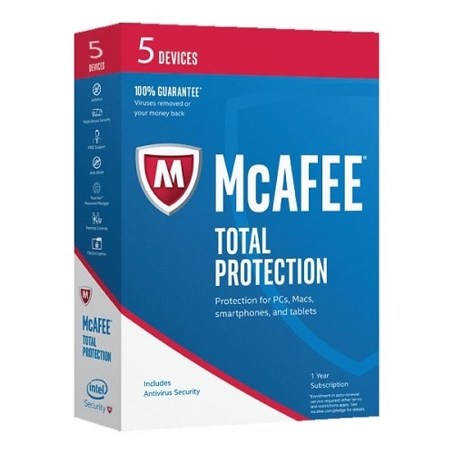 McAfee Total Protection 2017 Subscription license 1 year 5 devices ESD Win Mac Android iOS