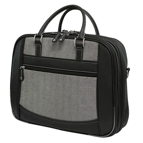 Mobile Edge ScanFast Herringbone Element Briefcase Laptop carrying case 16 inch black white