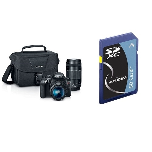 Canon EOS Rebel T6 digital camera EF S 18 55mm and EF 75 300mm lenses with 100 ES Shoulder Bag bundle with Axiom 128GB Secure Digital Extended Capacity Sdxc Class 10