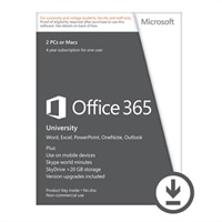 Microsoft Corporation Microsoft Corporation Download - Microsoft Office365 University 2 PC's or MAC's 4 Year Subscription for 1 User
