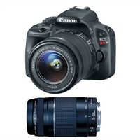 Canon Canon EOS Rebel SL1 18.0 MP Digital SLR Camera with EF-S 18-55mm IS STM lens and EF 75-300mm f/4-5.6 III (REBELSL1BUN515)