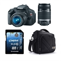 Canon Canon EOS Rebel T3i 18 MP Digital SLR Camera bundle with EF-S 18-55 mm IS II Lens, EF-S 55-250 mm f/4-5.6 IS Lens, Case Logic Bag and Kingston 8 GB card