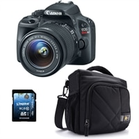 Canon Canon EOS Rebel SL1 18.0 MP Digital SLR Camera bundle with EF-S 18-55mm IS STM lens, Case Logic DSLR Shoulder Bag and Kingston SDHC UHS-I 8 GB Memory Card
