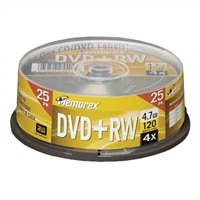 DVD+RW, 4.7GB, 4X (25-Pack Spindle).