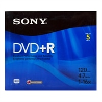 5 Pack DVD+R 4.7GB 16x Slim Jewel Case