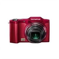 Olympus SZ-14 14MP Digital Camera with 24X Wide Angle Optical Zoom and 3D Image Capture – Red