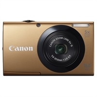 CANON CANADA INC.  PowerShot A3400 IS 16.0 MP Camera with 5x Optical Image Stabilized Zoom 28mm Wide-Angle Lens with 720p HD Video Recording and 3.0-Inch Touch Panel LCD - Gold
