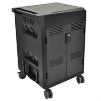 Ergotron PowerShuttle Laptop Management Cart - Cart for 20 notebooks / 1U switch - steel, ABS plastic - black