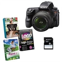 Alpha SLT-A37 16.1 MP DSLR Bundle with 18-55mm Lens, Sony 8GB Class 10 SD Card and Photo Creativity Suite