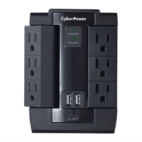 CyberPower Professional Series CSP600WSU - Surge protector - AC 125 V - output connectors: 6 - black