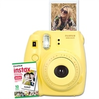 FUJIFILM  NEW Instax Mini 8 Instant Camera W/10 exposure Film Yellow