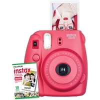 FUJIFILM  NEW Instax Mini 8 Instant Camera W/10 exposure Film Raspberry