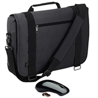 Dell Half Day Messenger Case- Fits Laptop with Screen Sizes Up to 15.6-inch with WM311 3-Button Wireless Mouse Bundle