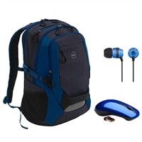 Dell Energy 17-inch Backpack with Blue In-Ear HeadPhones and WM311 3-Button Wireless Mouse Bundle