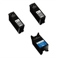 Dell Series 23 3-Pack Ink Bundle: 2 x Single Use High Yield Black Ink Cartridge (Series 23) / 1 x Single Use High Yield Color Ink Cartridge (Series 23)