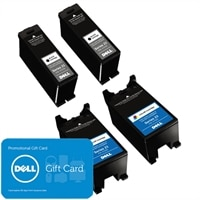 Dell Bundle: 2 x Single Use High Yield Black Cartridge (Series 23) / 2 x Single Use High Yield Color Cartridge (Series 23) with $30 PROMO eGift Card