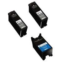 Dell Series 24 3-Pack Ink Bundle: 2 x Single Use High Yield Black Cartridge (Series 24) / 1 x Single Use High Yield Color Cartridge (Series 24)