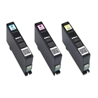 Dell Single Use Cyan / Magenta / Yellow Ink Cartridge Bundle for Dell V525w/ V725w All-in-One Wireless Inkjet Printer