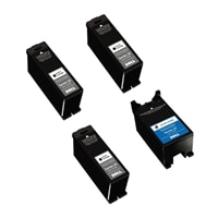 Dell Series 22 4-Pack Ink Bundle: 3 x Single Use High Yield Black Cartridge (Series 22) / 1 x Single Use High Yield Color Cartridge (Series 22)
