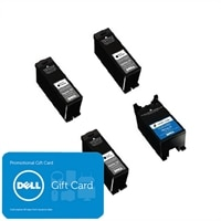 Dell Series 23 4 pack ink bundle: 3 x Single Use High Yield Black Cartridge (Series 23) / 1 x Single Use High Yield Color Cartridge (Series 23) with $25 PROMO eGift Card