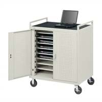 Bretford 18-Unit Assembled Laptop Storage Cart with 8-inch Casters and Rear Electrical Unit
