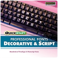 Quickstart Professional Fonts Decorative & Script - Complete package - 1 user - CD - Win, Mac