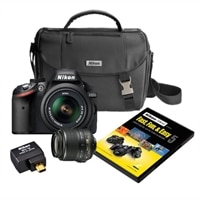 Nikon D3200 Digital SLR Camera Bundle with Fast Fun and Easy 5 DVD and D-SLR System Case and Nikon Wu-1a Wireless Mobile Adapter - Black