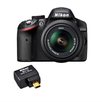Nikon D3200 24.2 MP Digital SLR Camera (with 18 - 55 mm Zoom Lens) with Wu-1a Wireless Mobile Adapter - Black