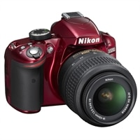 Nikon D3200 24.2 MP Digital SLR camera with 18-55mm f/3.5G VR AF-S DX NIKKOR lens - Red