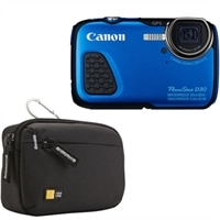 CANON Canon PowerShot D30 Waterproof Point & Shoot Camera 5x Optical Zoom 12.1 Megapixel - blue with Case Logic Medium Camera Case