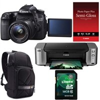 CANON Canon EOS 70D 20.2 MP Digital SLR Camera bundle with EF-S 18-55mm IS STM lens, Pixma PRO-100 InkJet Printer, Semi-Gloss Paper, DSLR Sling and Kingston 16G
