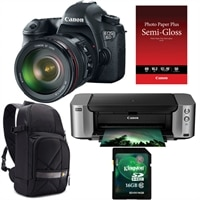 CANON Canon EOS 6D 20.2 MP Digital SLR Camera bundle with EF 24-105mm IS lens, Pixma PRO-100 InkJet Printer, Semi-Gloss Paper, DSLR Sling and Kingston 16GB Memo