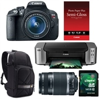 CANON Canon EOS Rebel T5i 18.0 MP Digital SLR Camera bundle with EF-S 18-55mm IS STM lens, EF-S 55-250mm f/4-5.6 IS Telephoto Lens, Pixma PRO-100 InkJet Printer