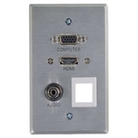 CABLESTOGO C2G RapidRun HDMI Single Gang Wall Plate with VGA, Stereo Audio and One Keystone - wall plate