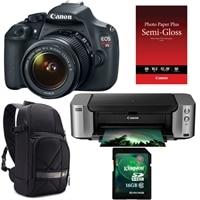 CANON Canon EOS Rebel T5 18 Megapixel DSLR EF-S 18-55mm IS II lens, Pixma PRO-100 InkJet Printer, Semi-Gloss Paper, DSLR Sling and Kingston 16GB Memory Card