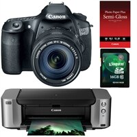 CANON Canon EOS 60D 18MP SLR Camera bundle with EF-S 18-135mm Lens, Pixma PRO-100 InkJet Printer, SG-201 Photo Paper Plus Semi-Gloss and Kingston 16GB Memory Ca