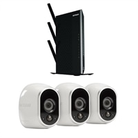 Arlo VMS3330 Video Server with (3) Wireless Cameras and (5) Port Netgear Nighthawk EX7000 – WiFi Range Extender - Bundle