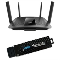 Linksys EA8500 Max-Stream™ AC2600 MU-MIMO Smart Wi-Fi Router and VisionTek 128GB USB 3.0 Pocket SSD
