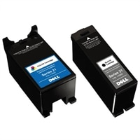 Dell 1 x Color / 1 x Black Single Use Standard Yield Cartridge (Series 21) Bundle for Dell V715w Wireless All-In-One Printer