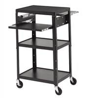 adj av cart pullout shelf4in wheels w2 shelves - Av Cart