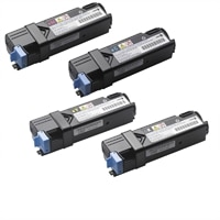Dell 4-Pack: 1 x 2,000-Page Black / Cyan / Magenta / Yellow Toner Cartridges for Dell 1320c Color Laser Printer