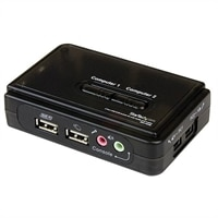 2-puerto StarTech.com Juego de Conmutador KVM de 2 puertos con todo incluido - USB - Audio y Vídeo VGA - conmutador K...